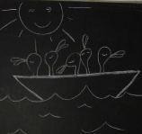 5 canards sont sur un bateau